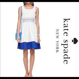 kate spade Dresses - Kate Spade XS dress White Blue smocked knee length